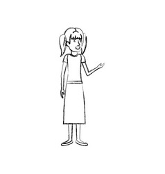 Blurred silhouette of woman standing with pigtails vector