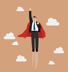 Businessman superhero flying into the sky vector image