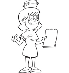 Cartoon nurse giving thumbs up vector image vector image