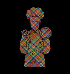 Chef cook standing crossed arms vector