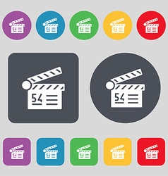 Cinema movie icon sign A set of 12 colored buttons vector image vector image