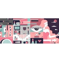 Cosmetic background abstract flat vector image vector image