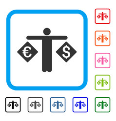 Currency trader framed icon vector