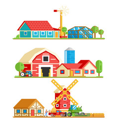farm village rural buildings trees concept vector image vector image