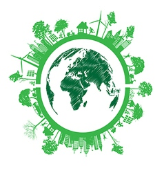 Green Eco Earth Isolated On White Background vector image vector image