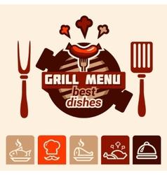 grill menu logo vector image vector image