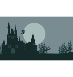 Halloween castle and ghost scary vector