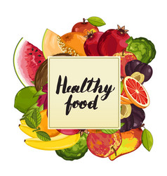 healthy food poster with fruit vector image vector image
