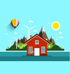 House in nature flat design landscape vector