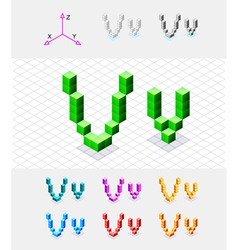 Isometric font from the cubes Letter V vector image vector image