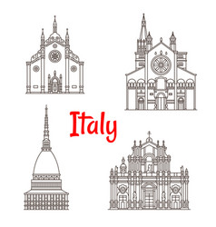 italian architecture italy landmarks icons vector image vector image