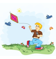 kid with a kite vector image vector image