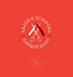 logo barbershop scissors razor vector image