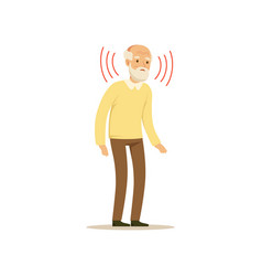 Male character old weak hearing colourful vector