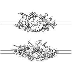 medieval drawing banners vector image vector image