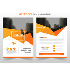 orange triangle abstract annual report brochure vector image