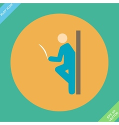 Pictogram of a man reading the newspaper leaning vector