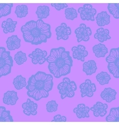 Pink and blue seamless flower pattern vector image