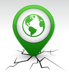Planet green icon in crack vector