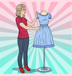 Pop art fashion designer with dress on a mannequin vector