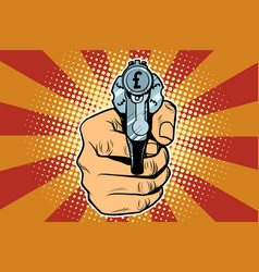 pound currency money finance revolver in hand vector image vector image