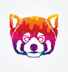 Red panda head cartoon bear face vector