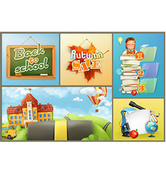 School education and schoolchildren set of vector image