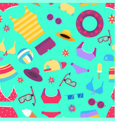 seamless summer pattern with beach objects and vector image