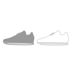 Sport shoes grey set icon vector