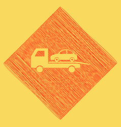 Tow car evacuation sign red scribble icon vector