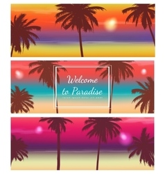 Travel banner with palm trees exotic landscape vector