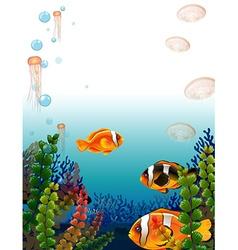 Underwater scene with fish swimming vector