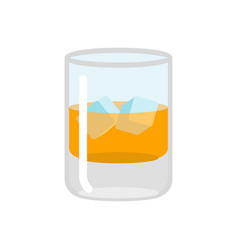 Whiskey and ice glass of scotch on rocks drink on vector