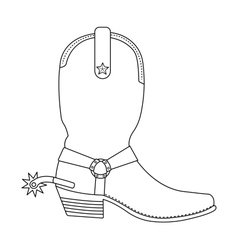 Wild west cowboy boot with spur contour vector