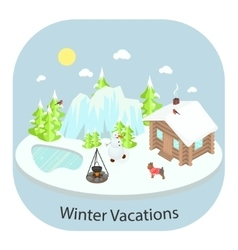 Winter landscape background with house vector image