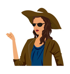 Young woman portrait with hat fashion sunglasses vector