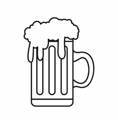 Mug full of beer icon outline style vector image