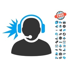 Operator headphones signal icon with free bonus vector