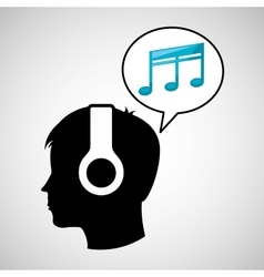 Head silhouette listening music quaver vector