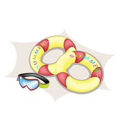 Inflatable ring and scuba mask vector