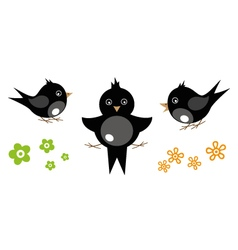 Swallows with flowers vector