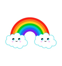 a rainbow with fun clouds vector image