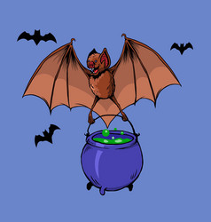 Flying bat bring witch potion vector