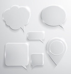 Set of glass speech bubbles clouds and icons vector