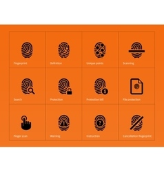 Security finger print icons on orange background vector