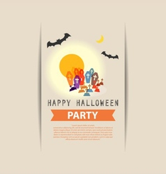 Happy halloween party grave yard vector