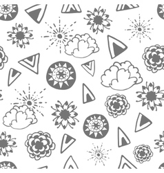 Seamless pattern with hand drawn doodle elements vector image