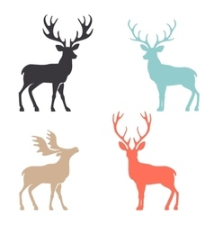 Silhouette deer with great antler animal vector