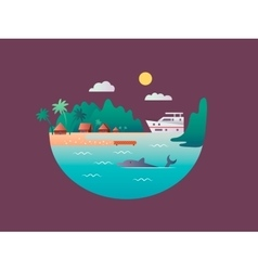 Yacht floats near the tropical shores vector