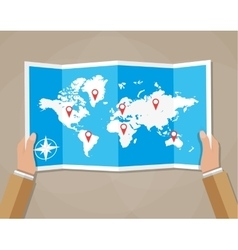 Travel world map in hands vector